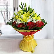 Buy/Send Yellow & Red Blooms Online - YuvaFlowers.com