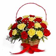 Buy/Send Red and Yellow Carnations Basket Arrangement - YuvaFlowers