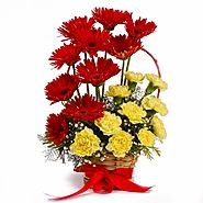 Buy/Send Basket of Red Gerberas with Yellow Carnations - YuvaFlowers