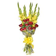 10 Yellow Glads with 10 Red Roses in cellophane packing - OyeGifts.com