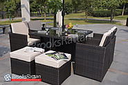 Brown Rattan Deluxe 4 Seat Cube including 4 Footstools