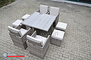 Champagne 4 Seat Cube with Storage Footstools in Mixed Grey Rattan