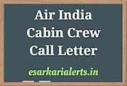 Air India Cabin Crew Call Letter 2018 - Written Exam Date Admit Card
