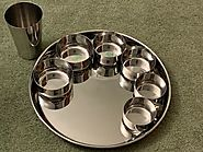 1 THALI & 6 STAINLESS STEEL KATORI SET & CUP