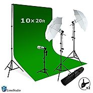 LimoStudio Photography Studio Video Photo ChromaKey Green Screen Background Support Kit 600W Output 3 Point Studio Ph...