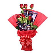Buy / Send Chocolate Rose Bouquet Gifts online Same Day & Midnight Delivery across India @ Best Price | OyeGifts