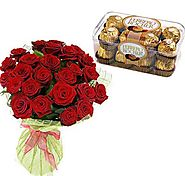 Buy/Send 30 Red Roses With Rocher Online - YuvaFlowers.com