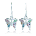 925 Sterling Silver Multi-Colored Mother of Pearl Shell Butterfly Dangle Hook Earrings Fashion Jewelry for Women, Tee...