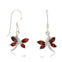 925 Sterling Silver Little Red Garnet Dragonfly Dangle Hook Earrings Jewelry for womens, teens, girls - Nickel Free