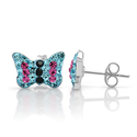 925 Sterling Silver Tiny Sparkling Aquamarine Blue Pink Black Pave Crystal Butterfly Post Stud Earrings 8 mm Fashion ...