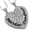 Mother Mom & Daughter Best Friends Forever BFF Heart Two Pendant Necklace High Polish Silver Tone Engraved Letters Mo...