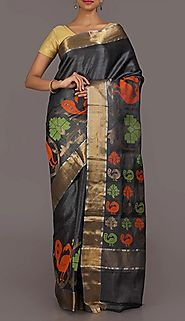 Shop for traditional ghicha handloom silk sarees online from www.shatika.co.in