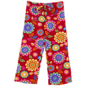 BeePOSH Red Flower Plush Sleep Pants for Girls