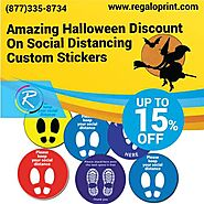 15% Halloween Discount on Social Distancing Custom Stickers