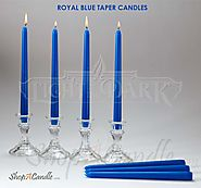 14 Royal Blue Taper Candles 10 Inch Tall 3/4 Inch Thick Burn 7.5 Hours (Color Is Core and Overdip ) - Party Candles -...