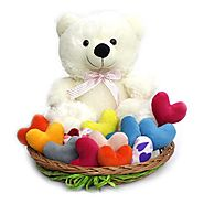 Buy or Send Teddy with Colourful Hearts - OyeGifts.com