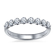 3/4 cttw. Diamond Wedding Band with Shared Prong Setting in 14K White Gold