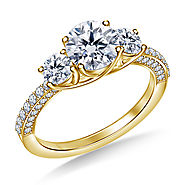 1 1/2 ct. tw. Trellis Three Stone Diamond Engagement Ring In Pave Setting 14K Yellow Gold