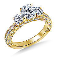 2.00 ct. tw. Vintage Inspired Trellis Three Stone Diamond Engagement Ring In 14K Yellow Gold
