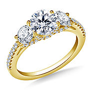 2.00 ct. tw. Three Stone Diamond Engagement Ring with Diamond Accents in 18K Yellow Gold