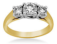 1.00 ct. tw. Three Stone Prong-Set Trellis Diamond Ring in 18K Yellow Gold