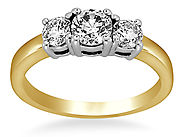 1/2 ct. tw. 18K Yellow Gold Prong-Set Three Stone Diamond Ring
