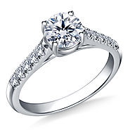 3/4 ct. tw. Round Brilliant Diamond Trellis Engagement Ring in 14K White Gold