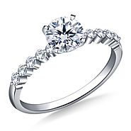 5/8 ct. tw. Round Brilliant Diamond Shared Prong Engagement Ring in 14K White Gold