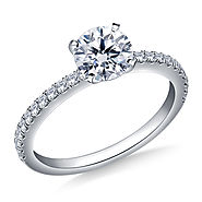 5/8 ct. tw. Round Brilliant Diamond Engagement Ring with Diamond Accents in 14K White Gold