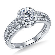 1 1/2 ct. tw. Round Halo Triple Band Diamond Engagement Ring In 14K White Gold