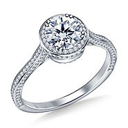 1 1/2 ct. tw. Diamond Halo Cathedral Engagement Ring In 14K White Gold