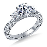 2.00 ct. tw. Vintage Inspired Trellis Three Stone Diamond Engagement Ring In 14K White Gold