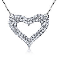 1/2 cttw. Embellished Open Heart Diamond Pendant in 14K White Gold