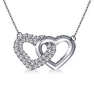1/5 cttw. Intertwined Diamond Heart Pendant in 14K White Gold