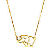 Open Elephant Pendant in 14K Yellow Gold