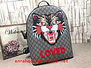 Gucci Angry Cat print GG Supreme backpack 419584