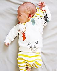 Deer White-Yellow Hooded Top, Pants Set for Baby Boys & Baby Girls - MyPreciousLittleOne