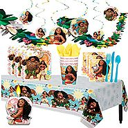 Disney Moana Deluxe MEGA Birthday Party Supplies and Decorations for 16 includes Plates, Napkins, Cups, Cutlery, a Ta...