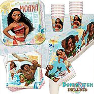Disney Moana Birthday Party Pack (Cups, Tablecover, Plates, Napkins + BONUS) 16 PACK + BONUS Great for kids