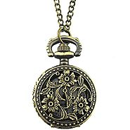 YouYouPifa Bronze Three Flower Pattern Hollow Small Pocket Watch