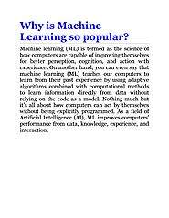 Why Is Machine Learning So Popular ? by John Alex - issuu