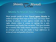 Shimla to manali tour packages with shimla travel agent