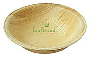 "Leaftrend Disposable Palm Leaf Plates, Wedding and Party Plates, Round Palm Leaf Bowl, 4"" W, 25 Piece"