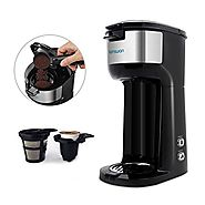 Coffee Maker, HAMSWAN K Cup Single Serve Coffee Maker Ground Coffee and Coffee Capsules 2 in 1 Automatic Coffee Machi...