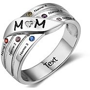 6 Stone Personalized Mother's MOM Family Birthstone Ring