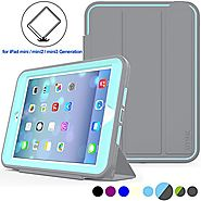 iPad Mini 1 / 2/ 3 Case Three Layer Heavy Duty Shock Poof Smart Cover, Auto Sleep Wake With Leather Stand Feature For...