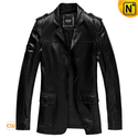 Mens Black Italian Leather Blazer CW840625
