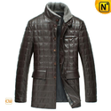 Designer Mens Padded Leather Coat CW829256