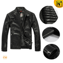 Men's Designer Leather Jacket Pleated Shoulder Zipper Sleeve | CWMALLS