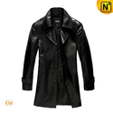 Black Leather Trench Coat Men CW861560